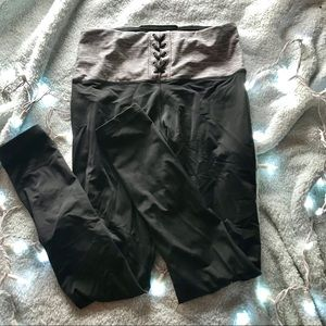 PINK lace up grey waistband leggings high waisted